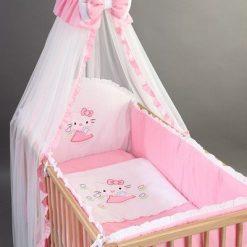 Set Lenjerie patut bebelusi si copii brodată 4 piese 120×60 Kitty Roz